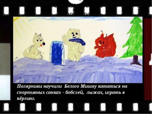 Полярники научили Белого Мишку кататься на спортивных санках - бобслей, лыжа...