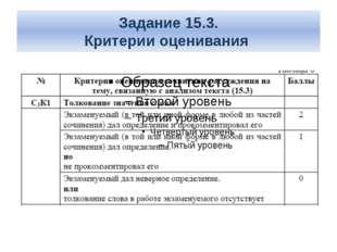 Задание 15.3. Критерии оценивания
