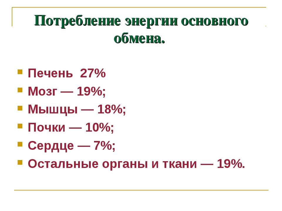 Потребление энергии основного обмена. Печень 27% Мозг — 19%; Мышцы — 18%; Поч...