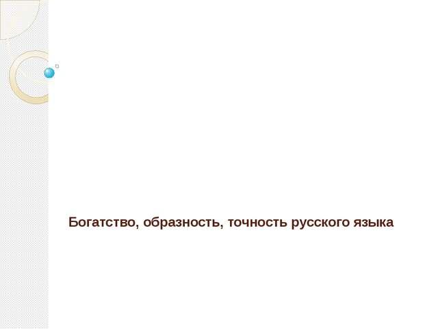 Богатство, образность, точность русского языка