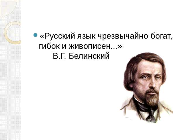 «Русский язык чрезвычайно богат, гибок и живописен...» В.Г. Белинский