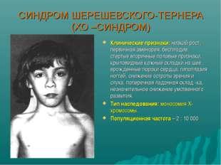 СИНДРОМ ШЕРЕШЕВСКОГО-ТЕРНЕРА (ХО –СИНДРОМ) Клинические признаки: низкий рост,