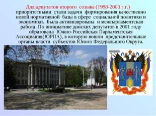 Для депутатов второго созыва (1998-2003 г.г.) приоритетными стали задачи форм