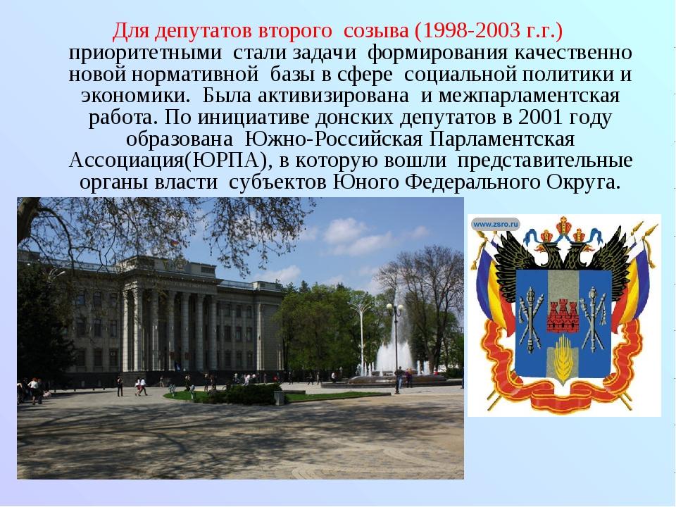 Для депутатов второго созыва (1998-2003 г.г.) приоритетными стали задачи форм...