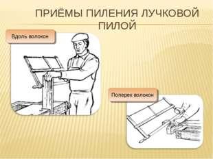 ПРИЁМЫ ПИЛЕНИЯ ЛУЧКОВОЙ ПИЛОЙ Вдоль волокон Поперек волокон