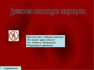 Содержание Круглый знак с обводом красным- Это значит здесь опасно! Тут, пойм