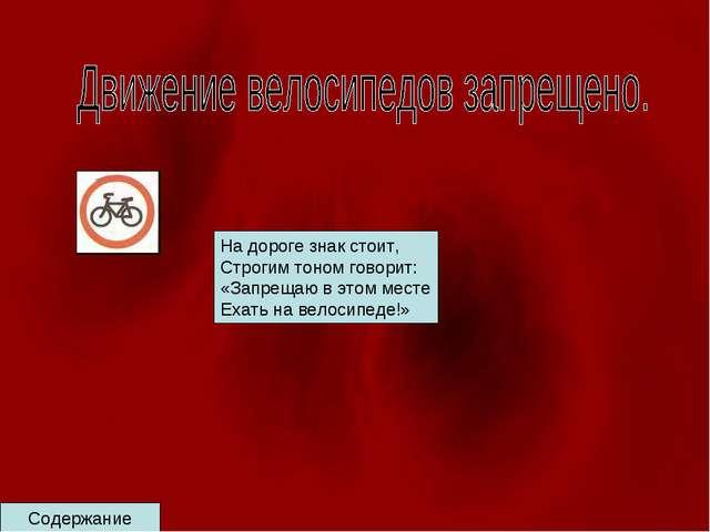 Содержание На дороге знак стоит, Строгим тоном говорит: «Запрещаю в этом мест...