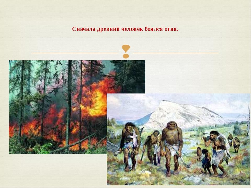 Сначала древний человек боялся огня. 