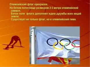 Олимпийский флаг прекрасен. На белом полотнище размером 2-3 метра олимпийски