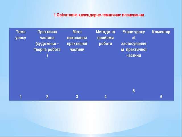 1.Орієнтовне календарне-тематичне планування Тема уроку 1 Практична частина (...
