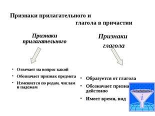 Признаки прилагательного и глагола в причастии Признаки прилагательного Отве