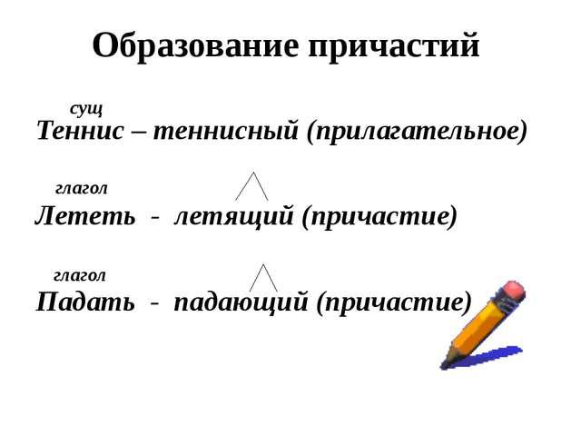 Образование причастий Теннис – теннисный (прилагательное) Лететь - летящий (...