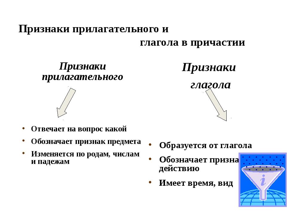 Признаки прилагательного и глагола в причастии Признаки прилагательного Отве...