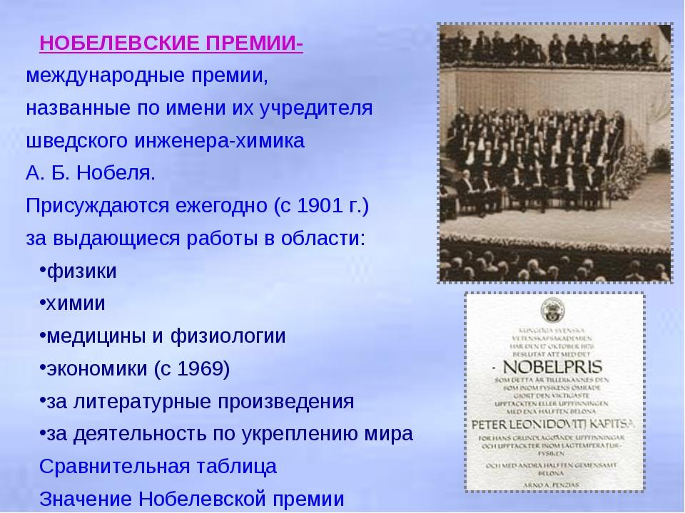НОБЕЛЕВСКИЕ ПРЕМИИ- международные премии, названные по имени их учредителя шв...