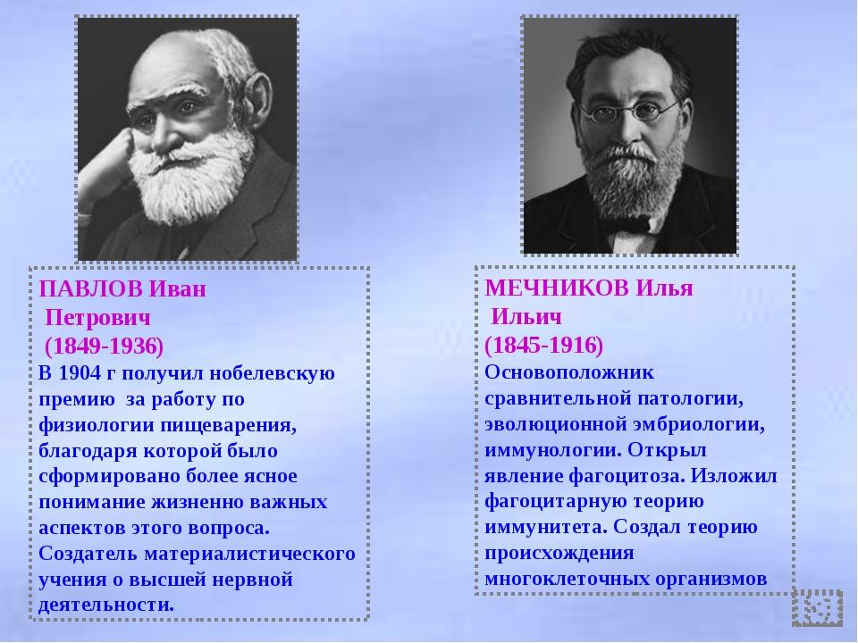 ПАВЛОВ Иван Петрович (1849-1936) В 1904 г получил нобелевскую премию за работ...