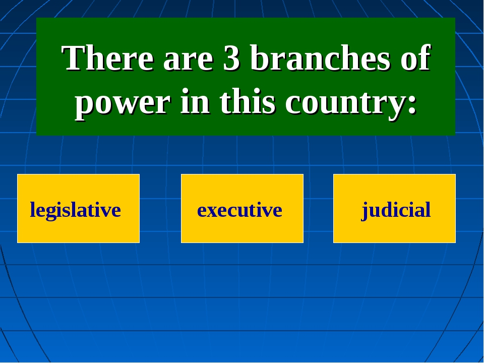 There are 3 branches of power in this country: legislative executive judicial