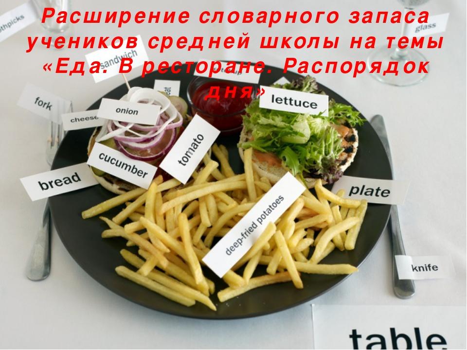 Расширение словарного запаса учеников средней школы на темы «Еда. В ресторане...
