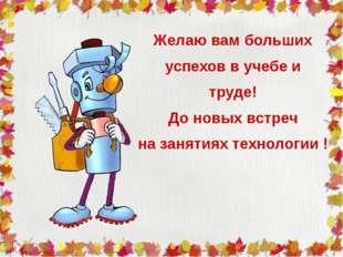 Желаю вам больших успехов в учебе и труде! До новых встреч на занятиях технол