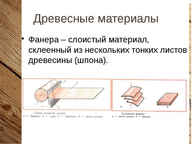 Древесные материалы Фанера – слоистый материал, склеенный из нескольких тонки...