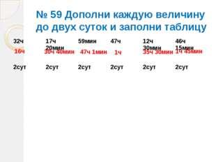 № 59 Дополни каждую величину до двух суток и заполни таблицу 16ч 30ч 40мин 47