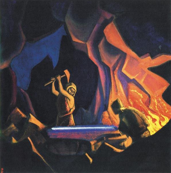 Н.К. Рерих. Ковка меча (Нибелунги). 1941