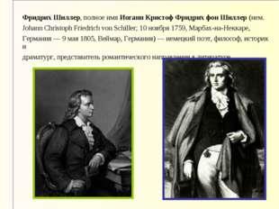Фридрих Шиллер, полное имя Иоганн Кристоф Фридрих фон Шиллер (нем. Johann Chr