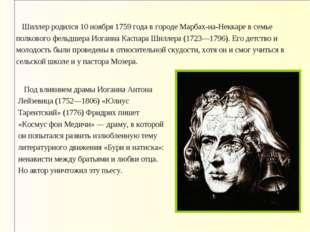 Шиллер родился 10 ноября 1759 года в городе Марбах-на-Неккаре в семье полков