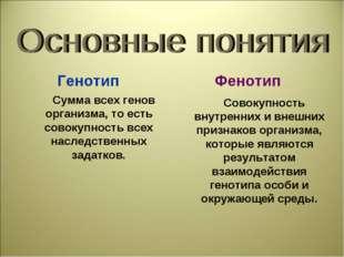 Генотип Фенотип Сумма всех генов организма, то есть совокупность всех наследс