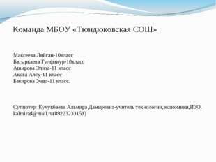 Команда МБОУ «Тюндюковская СОШ» Максеева Ляйсан-10класс Батыркаева Гулфинур-1