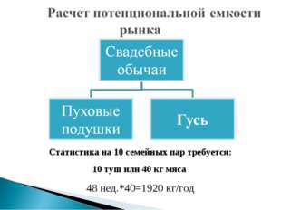 Статистика на 10 семейных пар требуется: 10 туш или 40 кг мяса 48 нед.*40=192