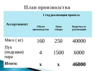 Ассортимент1 год реализации проекта Объем производстваЦена товараВыручка