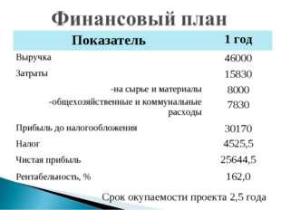Срок окупаемости проекта 2,5 года Показатель1 год Выручка46000 Затраты1583