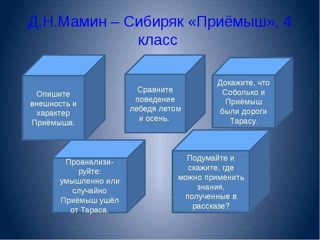 Д.Н.Мамин – Сибиряк «Приёмыш», 4 класс Опишите внешность и характер Приёмыша....
