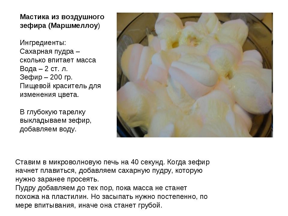 Мастика из воздушного зефира (Маршмеллоу) Ингредиенты: Сахарная пудра – сколь...