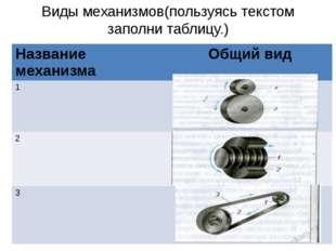 Виды механизмов(пользуясь текстом заполни таблицу.) Название механизма Общий