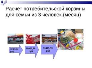 Расчет потребительской корзины для семьи из 3 человек.(месяц) 9367,85 руб 100