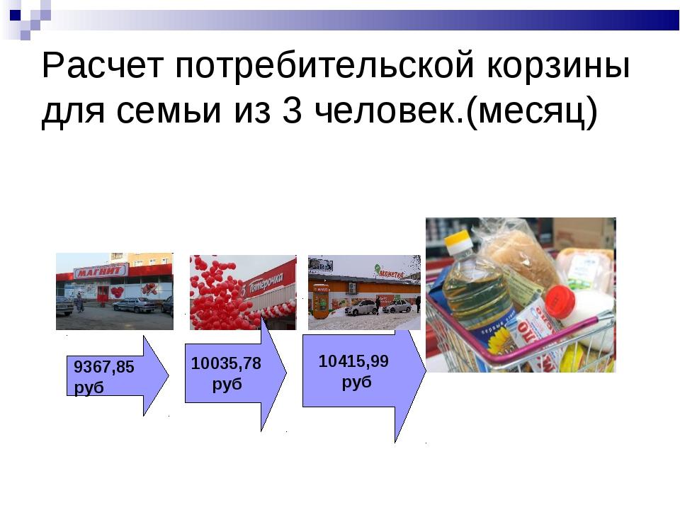 Расчет потребительской корзины для семьи из 3 человек.(месяц) 9367,85 руб 100...