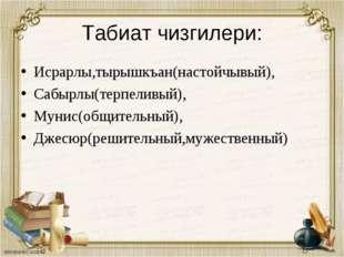 Табиат чизгилери: Исрарлы,тырышкъан(настойчывый), Сабырлы(терпеливый), Мунис(