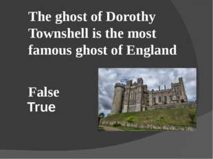 True The ghost of Dorothy Townshell is the most famous ghost of England False