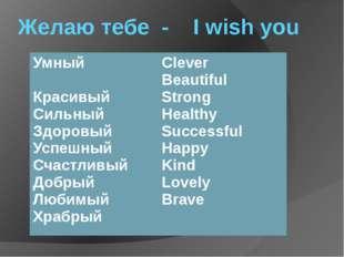 Желаю тебе - I wish you Умный Красивый Сильный Здоровый Успешный Счастливый Д