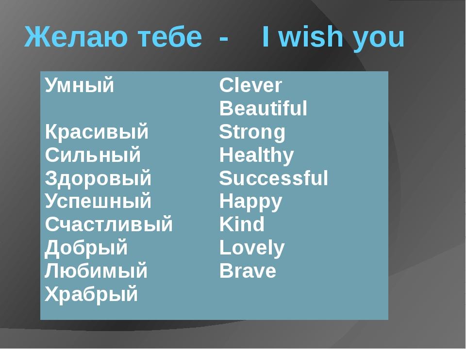 Желаю тебе - I wish you Умный Красивый Сильный Здоровый Успешный Счастливый Д...