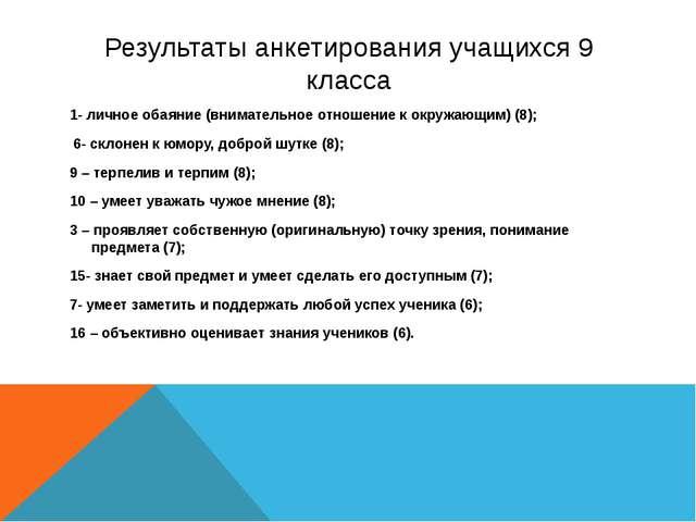 Результаты анкетирования учащихся 9 класса 1- личное обаяние (внимательное от...