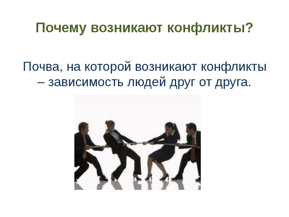Почему возникают конфликты? Почва, на которой возникают конфликты – зависимос...