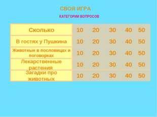 50 40 30 20 10 Загадки про животных 50 40 30 20 10 Лекарственные растения 50