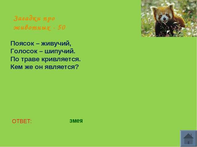 Загадки про животных - 50 Поясок – живучий, Голосок – шипучий. По траве кривл...
