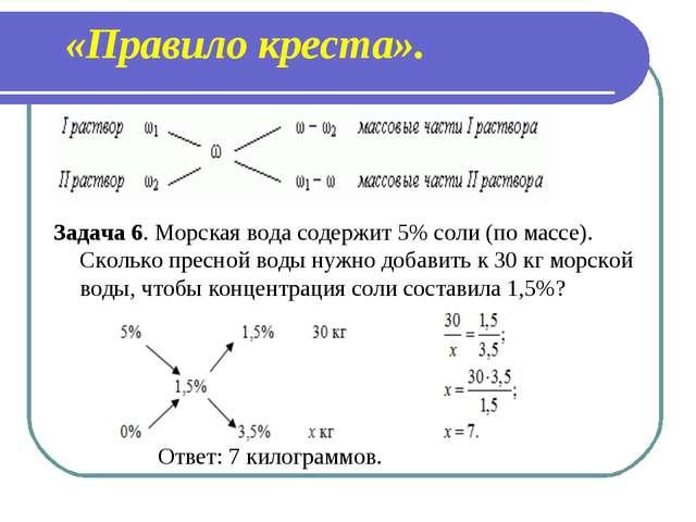 «Правило креста». Задача 6. Морская вода содержит 5% соли (по массе). Сколько...