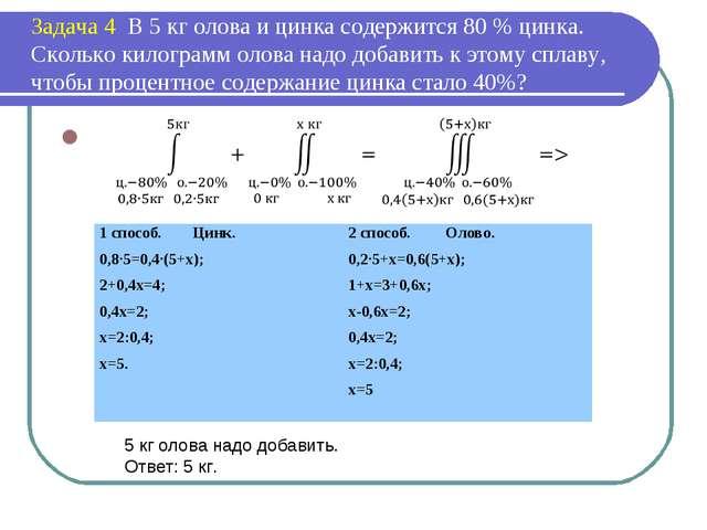 Задача 4 В 5 кг олова и цинка содержится 80 % цинка. Сколько килограмм олова...