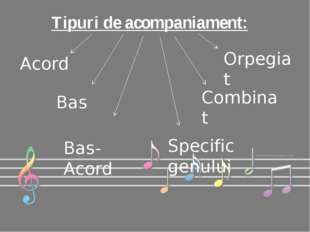 Tipuri de acompaniament: Acord Orpegiat Bas Bas-Acord Combinat Specific genului