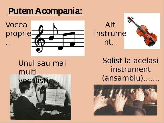 Putem Acompania: Vocea proprie.. Unul sau mai multi vocalisti..... Alt instru...