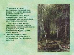 В природе все идет постепенно. Большой лес всегда состоит из деревьев разных